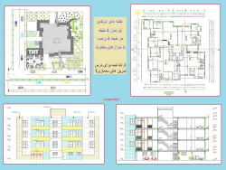 نقشه های اتوکدی آپارتمان4 طبقه، هرطبقه 4 واحده، نمونه دوم